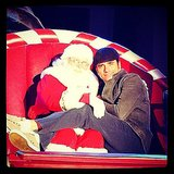 """John Stamos cozied up to Santa in a fun Instagram photo, writing, """"This guy sleighs me.""""  Source: Instagram user johnstamos"""