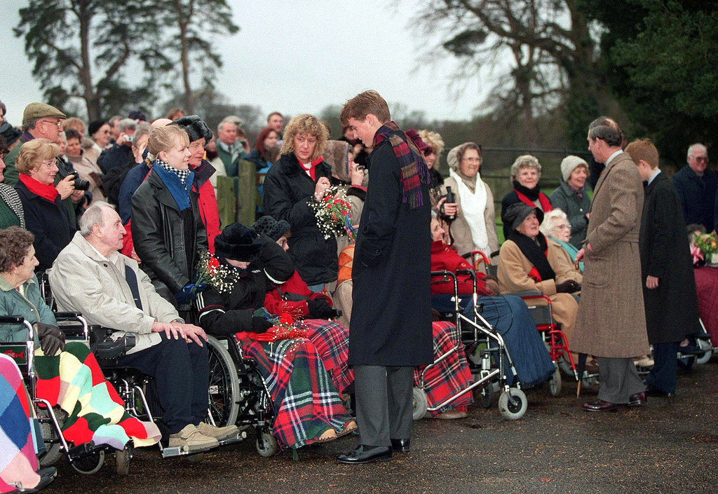 In 1998, Prince William and Prince Charles met with the public after the Christmas Day church service.