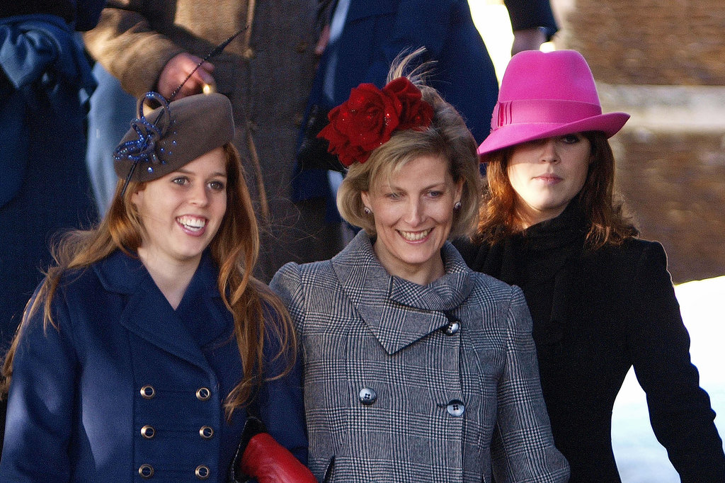 Princess Beatrice and Princess Eugenie walked with Princess Sophie as they left the Christmas Day service in 2009.