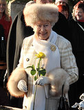 Queen Elizabeth II sported a furry hat for Christmas Day 2010.