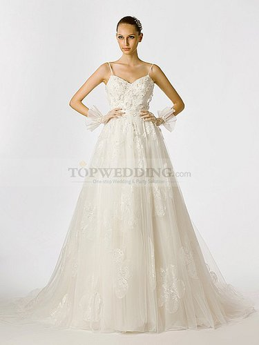 Spaghetti Strapped Flower and Beading Embellished Tulle Bridal Gown