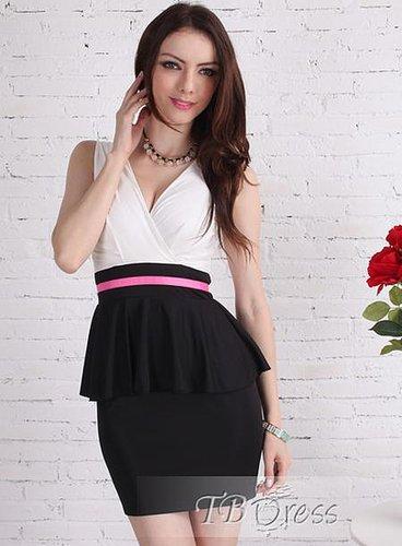 Classy Slim Skirt Black and White Rose Dresses