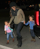 Camila Alves held on to Levi and Vida's hands.