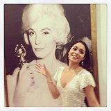 Vanessa Hudgens posed in front of Golden Globe-toting Marilyn Monroe. Source: Instagram user vanessahudgens