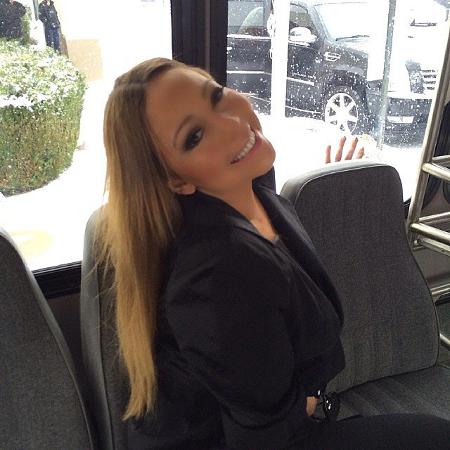 Mariah Carey shared this smiley snap when it started snowing in NYC. Source: Instagram user mariahcarey