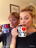 Margot Robbie sipped coffee with her mom upon their arrival to NYC. Source: Margot Robbie on WhoSay