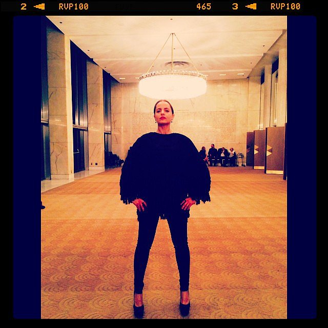 Mena Suvari rocked an H&M jacket to the opera — how awesome does she look? Source: Instagram user mena13suvari