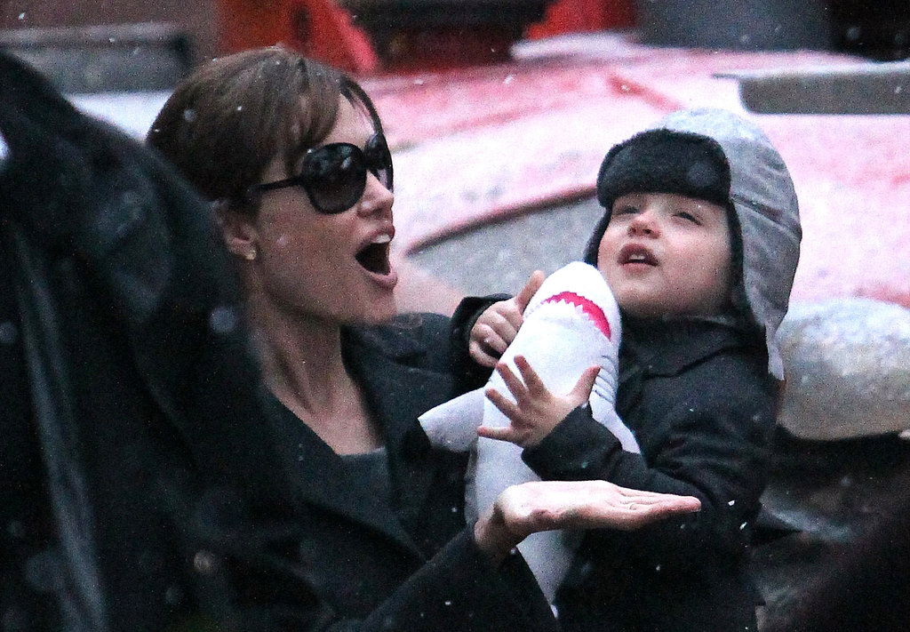 Angelina Jolie and Knox got excited about snow flurries in France in December 2010.