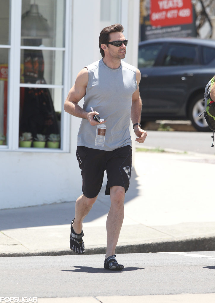Hugh Jackman went for a jog before heading to Bondi Beach in Sydney.