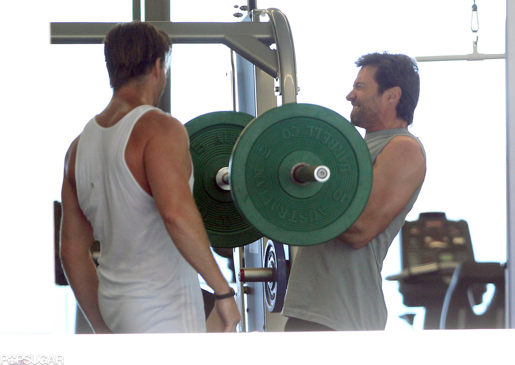 Hugh Jackman lifted some serious weights at a gym in Sydney.