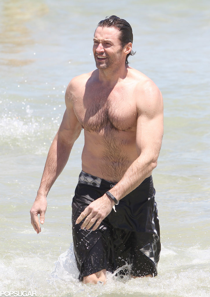 Hugh Jackman Makes a Shirtless Splash at the Beach