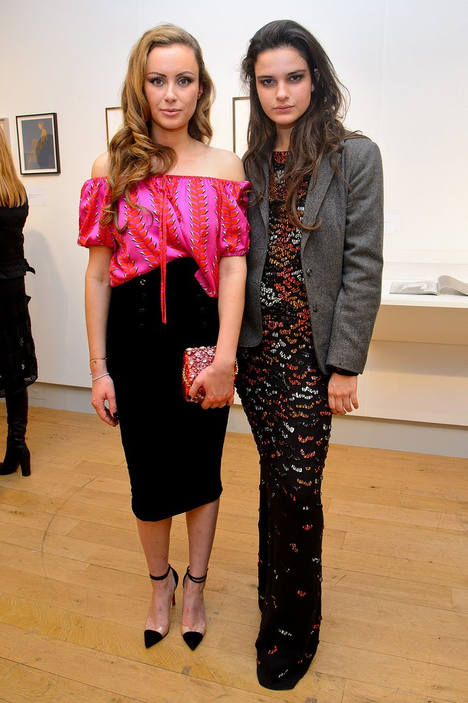 Camilla Al-Fayed and Evangeline Ling at the Fashion Illustration Gallery at Christie's.