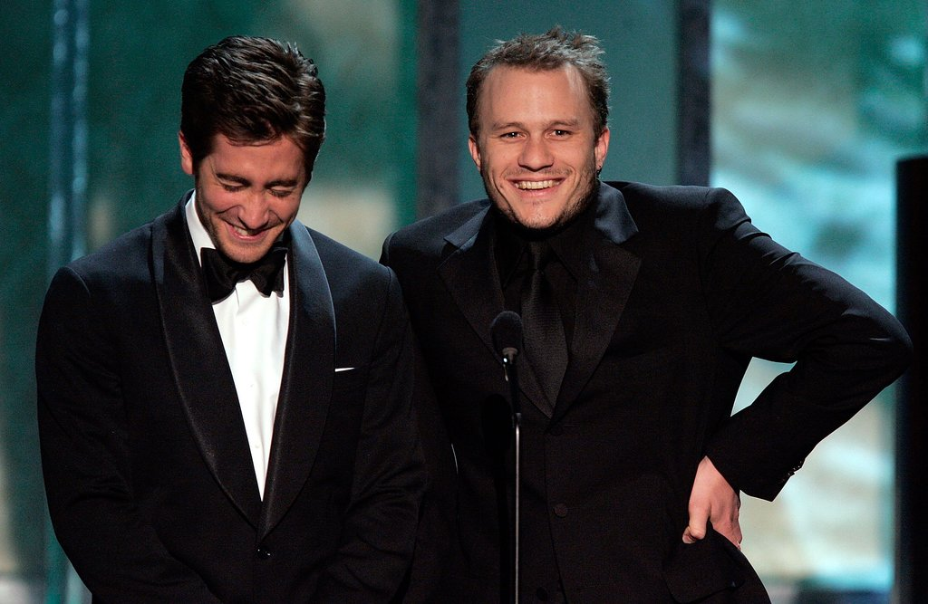 Jake couldn't help but laugh while presenting onstage with Heath Ledger at the SAG Awards in January 2006.