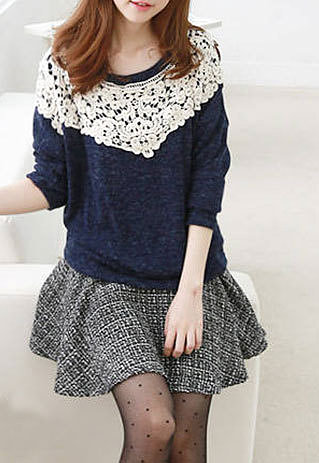 Image of [grzxy6600875]Sweet Leisure Contrast Color Floral Lace Spliced  Sweatshirt