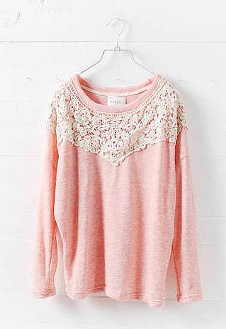 Sweet Leisure Contrast Color Floral Lace Spliced Sweatshirt