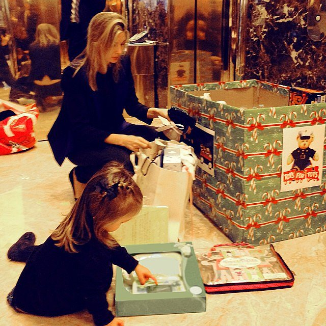 Ivanka Trump and Arabella Kushner got to work making donations to a Toys For Tots drive. Source: Instagram user ivankatrump