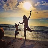 Benjamin Brady got in on his mom's yoga action on the beach. Source: Instagram user giseleofficial
