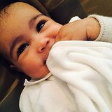 Kim Kardashian shared a cute photo of baby North smiling. Source: Instagram user kimkardashian