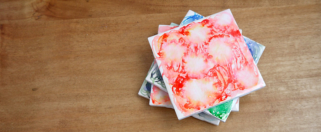 DIY These Dreamy Watercolor Tile Coasters