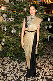 Freida Pinto was a true gift, wrapped up in gold and a bow at A Small World's Winter Weekend in Gstaad.