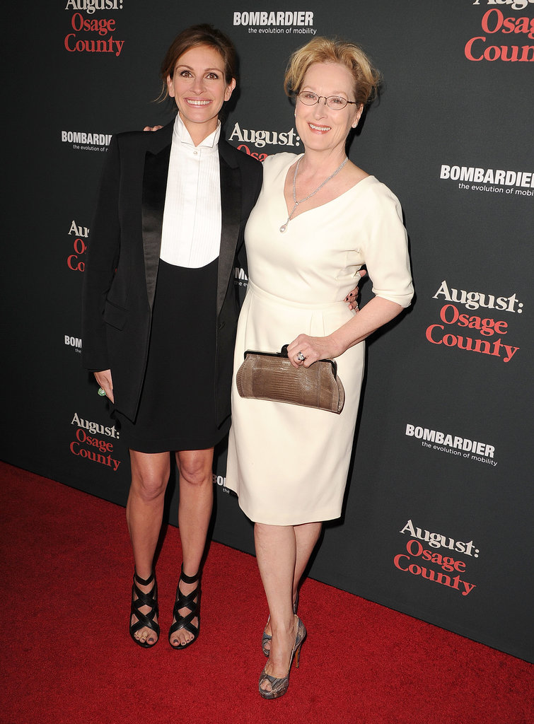 Julia Roberts and Meryl Streep hit the red carpet together for the LA premiere of their film August: Osage County on Monday.
