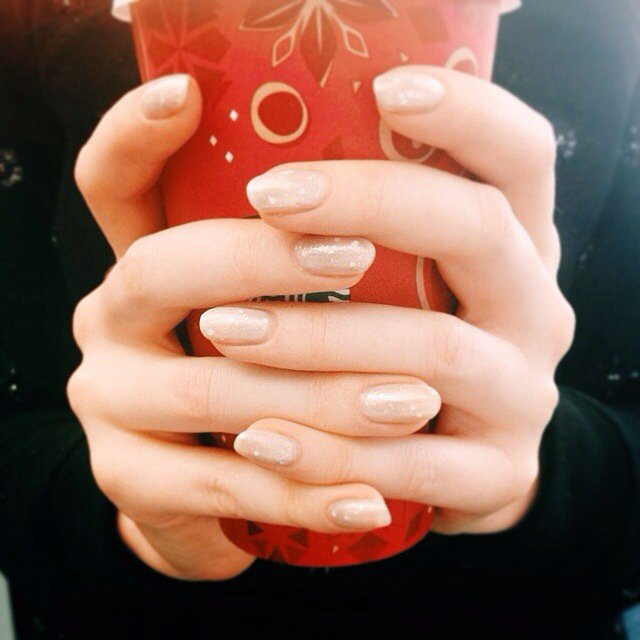It was a snowy day in New York when we snapped this manicure shot, so a warm drink was required. Cheers!