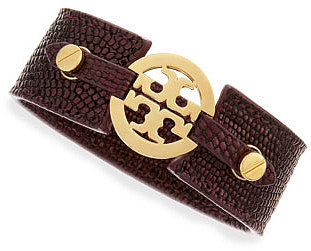 Tory Burch Embossed Skinny Logo Double-Snap Cuff, Burgundy