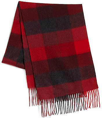 Saks Fifth Avenue Black Label Box Plaid Cashmere Scarf