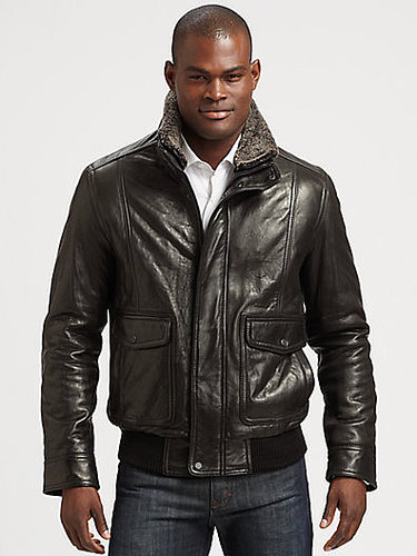 Andrew Marc Leather Aviator Bomber Jacket