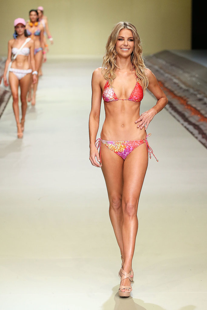Showing off her brilliant bikini body, Jen looked a million bucks strutting the catwalk at this yea'rs Myer Spring/Summer 2014 collections launch.