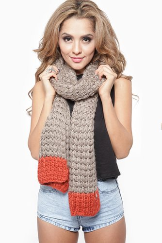 Sequin Knit Two Tone Oblong Scarf