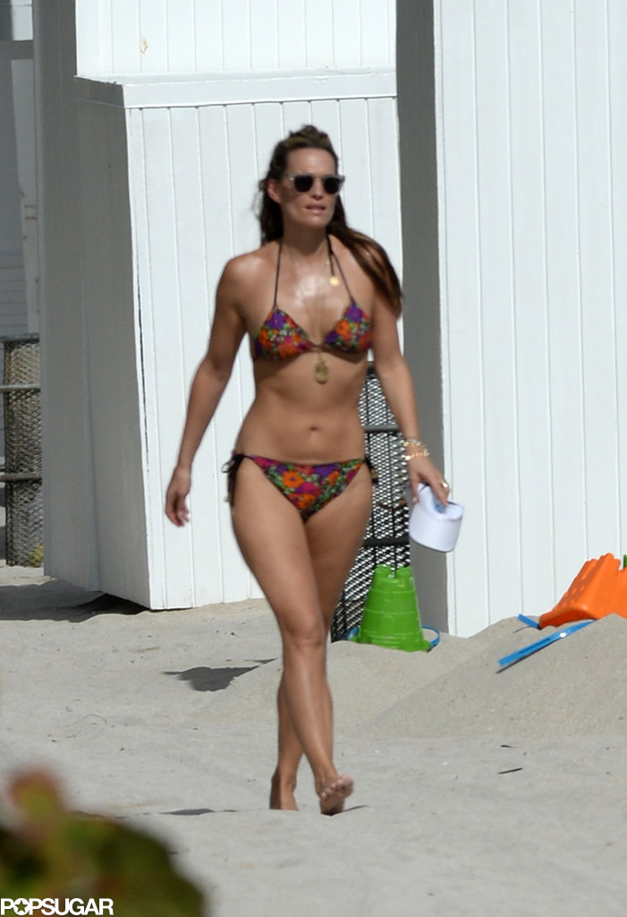 Molly Sims showed off her fit figure in a bikini.