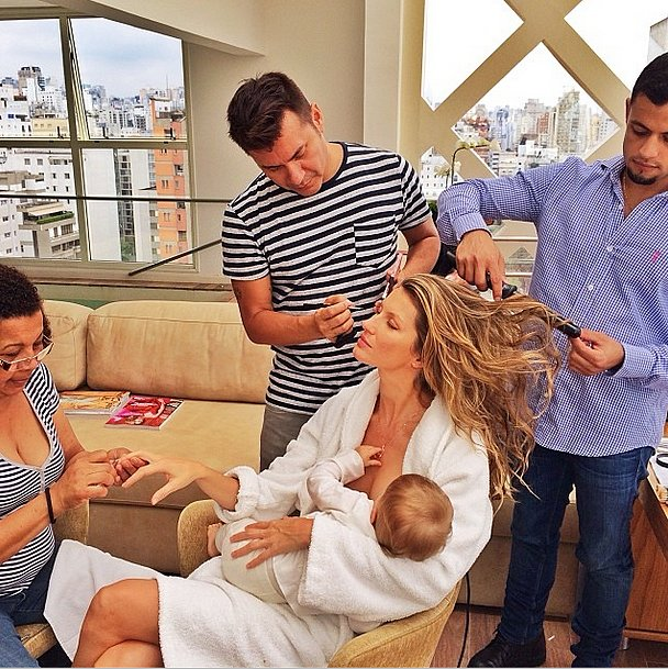 A day in the life of working mom Gisele Bündchen includes sitting in the makeup chair while she gets her hair, nails, and makeup done, all while breastfeeding. Source: Instagram user giseleofficial