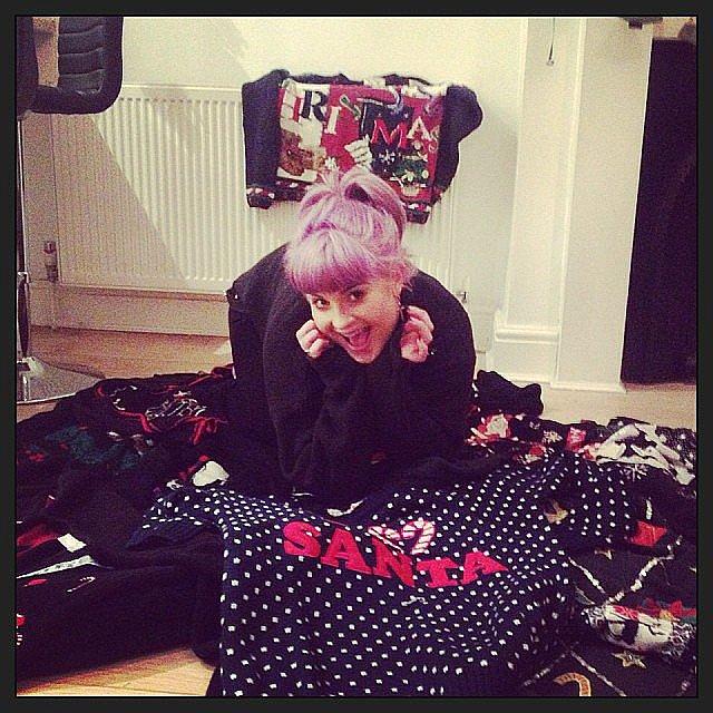 Kelly Osbourne had fun in a pile of ugly Christmas sweaters. Source: Instagram user kellyosbourne