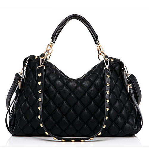 Image of [grxjy520147]Roman Style Diamond Check Rivet Pure Color Black Handbag