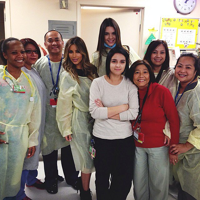 Kim Kardashian and Kendall Jenner visited the LA Children's Hospital on Christmas Eve. Source: Instagram user kendalljenner