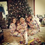 All the women in the Alba-Warren family posed in matching pajamas on Christmas morning.  Source: Instagram user cash_warren