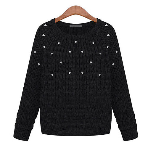 Image of [grxjy560742]Casual Hearts Stretchy Crewneck Pullover Fitted Knitted Sweater