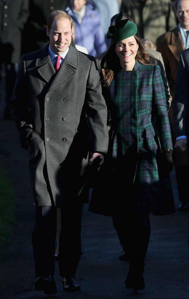 Kate Middleton and Prince William strolled together on their way to Christmas Day services in King's Lynn, England.