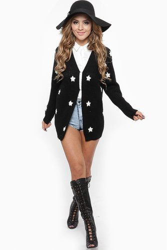 Loose Knit Starry Eyed Black Cardigan - What's New