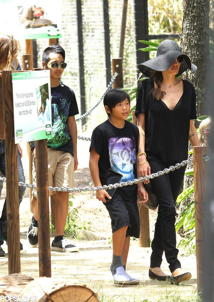 Angelina strolled with Pax and Maddox.