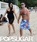 Simon Cowell and Lauren Silverman strolled in the Barbados sand.
