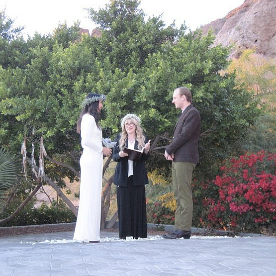 Vanessa Carlton celebrated an intimate ceremony with John McCauley on Friday, Dec. 27. Stevie Nicks smiled at the gorgeous bride while officiating the wedding.  Source: Twitter user VanessaCarlton