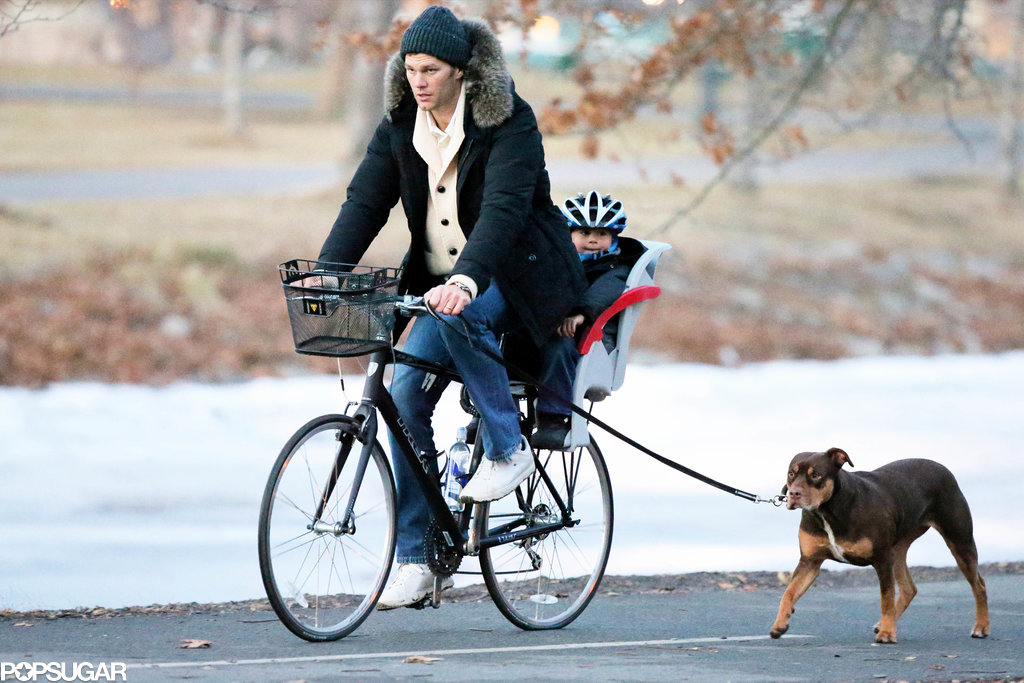 Tom steered the bike as the family dog scored some cardio.