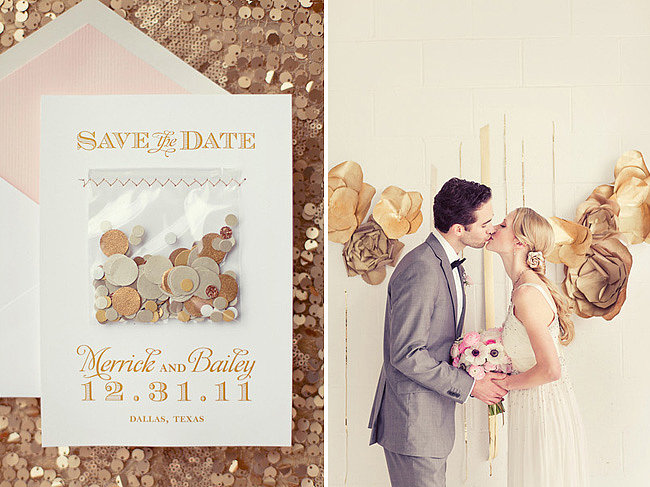 Fill your save-the-date cards with confetti to get the party started early. Photos by nbarrett photography via Green Wedding Shoes
