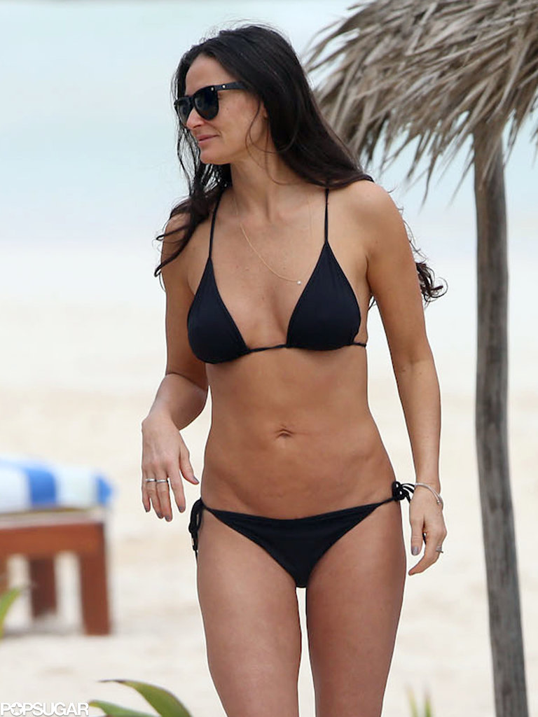 Demi wore a black string bikini.