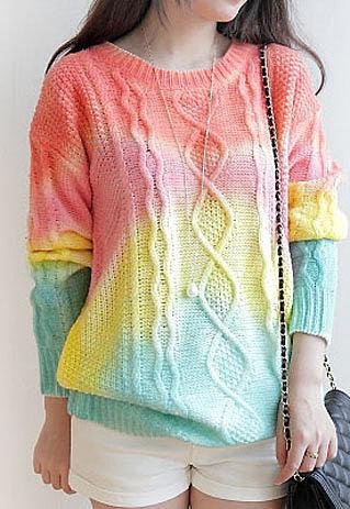 Dream Retro Gradient Loose Fitting Sweater