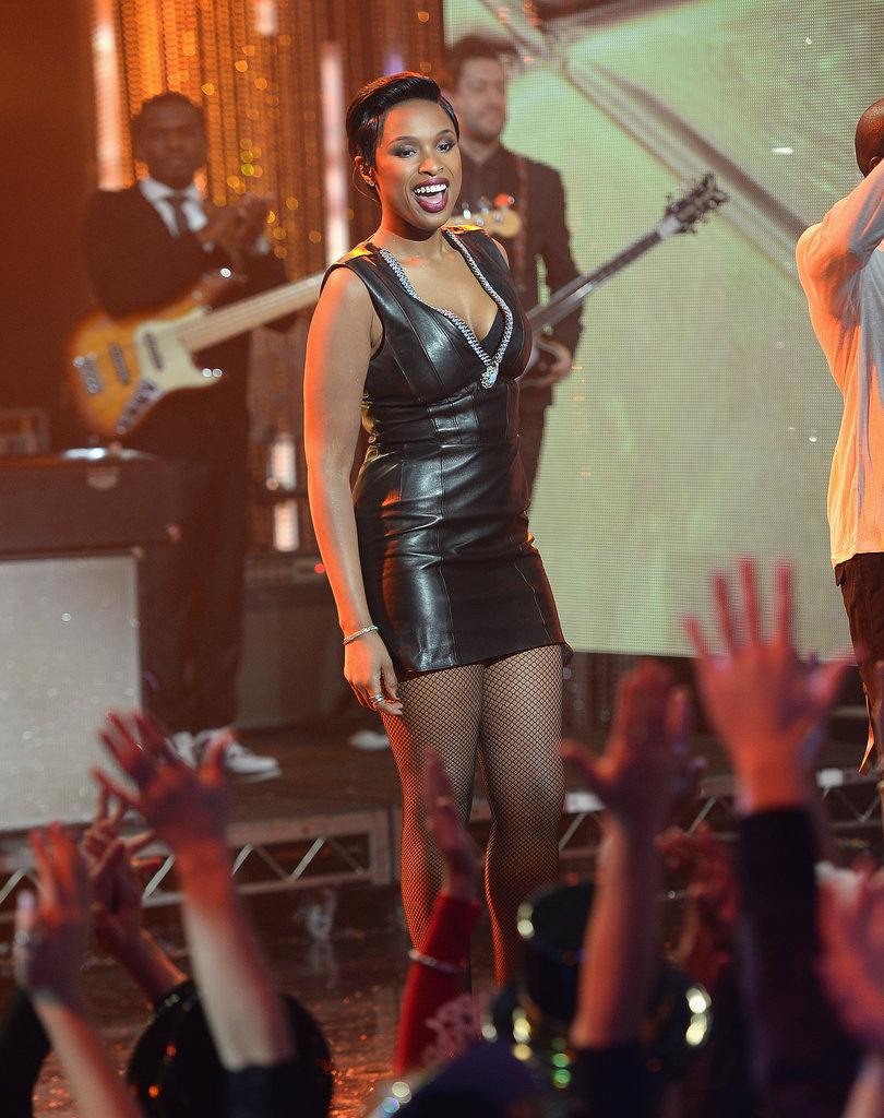 Jennifer Hudson wore a black leather minidress for a performance in Los Angeles.
