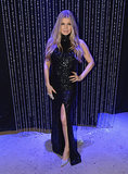 Fergie wore a crystal embroidered black halter dress from Rubin Singer's Spring 2014 collection to attend Dick Clark's New Year's Rockin' Eve.