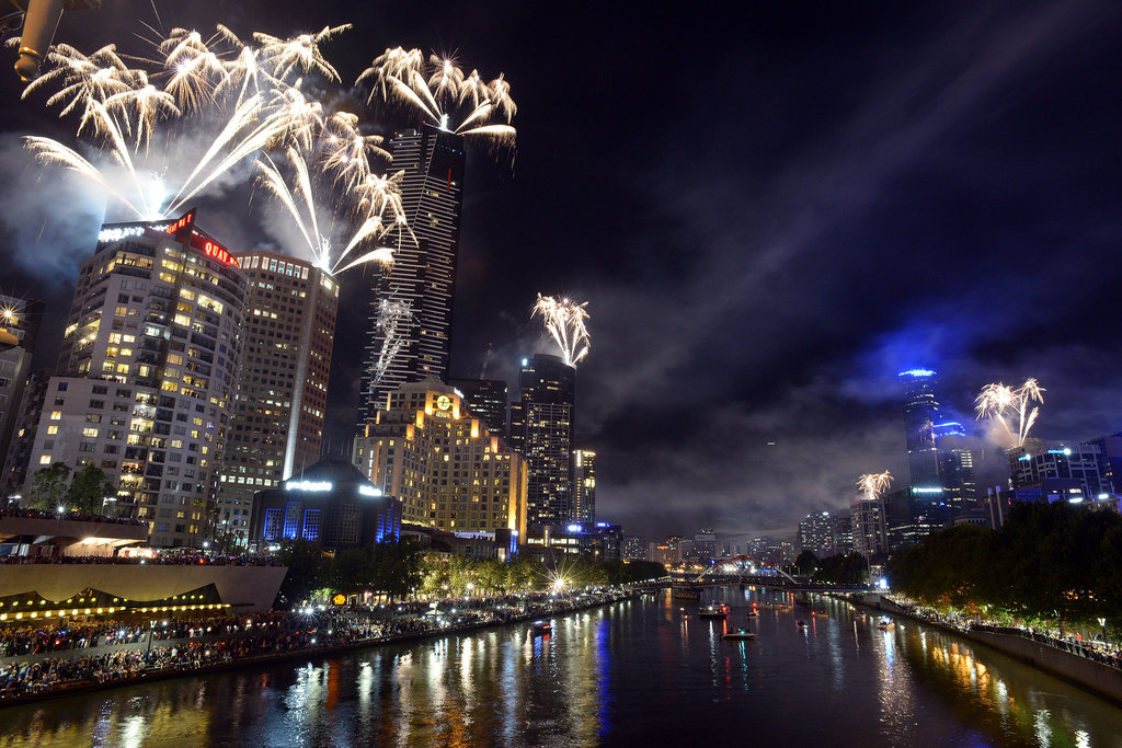 The skyline in Melbourne, Australia, was surrounded by fireworks at midnight on New Year's Eve.